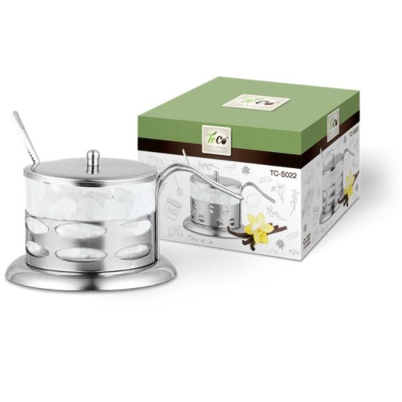 Сахарница TECO из стекла и нержавеющей стали, овалыCахарницы<br>Сахарница «Teco» выполнена из стекла и нержавеющей стали. В комплекте ложечка из нержавеющей стали. Сахарница станет отличным украшением вашего интерьера.<br>