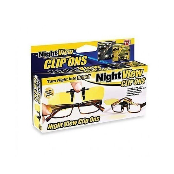 Антибликовые очки для водителей Night View Clip OnsОчки водительские<br>Если Вы много времени проводите за рулем, а также часто бываете на дороге ночью или ранним утром, то антибликовые очки для водителей Night View Clip Ons уберегут Вас от бликов фар и фонарей, а значит - значительно обезопасят путь.<br>