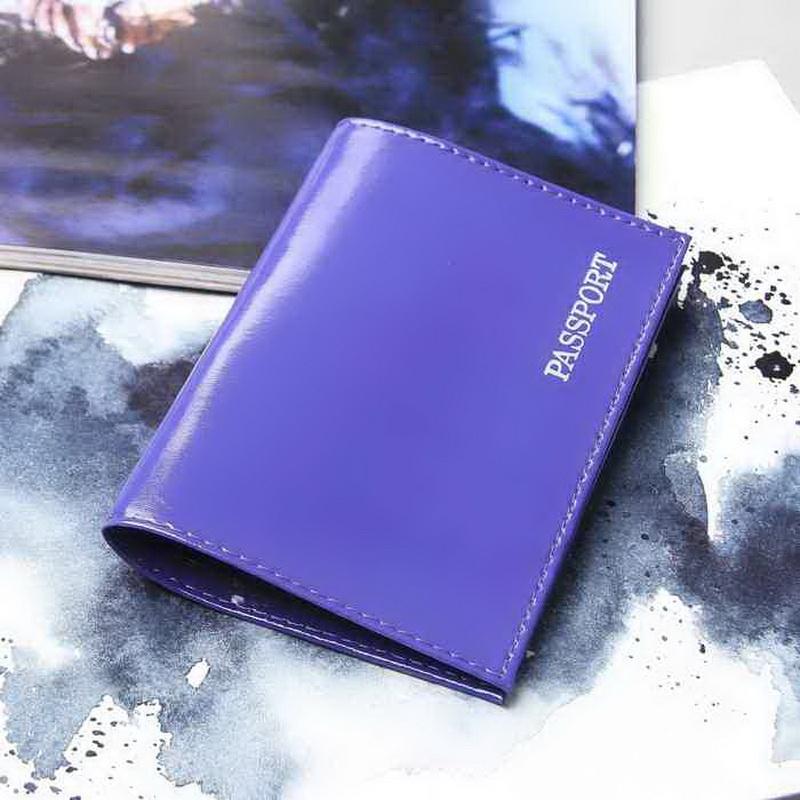Обложка для паспорта глянцевая — Passport, фиолетовый