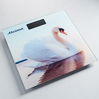 Весы напольные электронные АКСИНЬЯ КС-6010 «Белый лебедь»: 180 кг, 26*26см (10)
