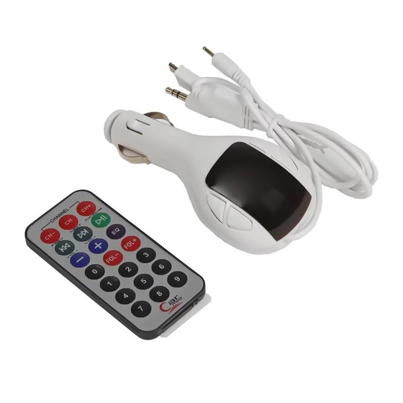 FM — трансмиттер, 12 В, USB/Mp3/WMA/MicroSD, белый
