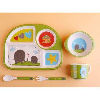 Набор детской посуды из бамбука, слон фото