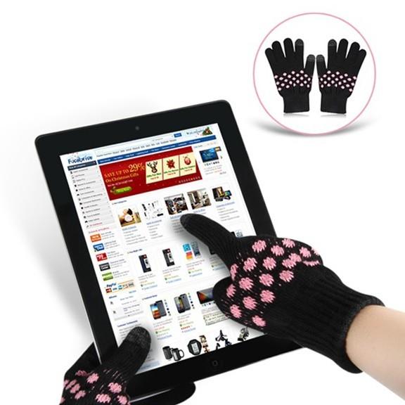 Перчатки для сенсорных экранов - с узором, 2 пальца, Черные