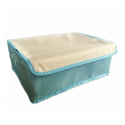 Складной кофр для хранения носков и нижнего белья 24 ячейки, 32х24х12,5 см, голубой