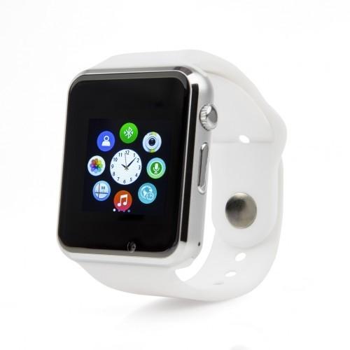 Умные часы Smart Watch A1 — серебро, белый ремешок