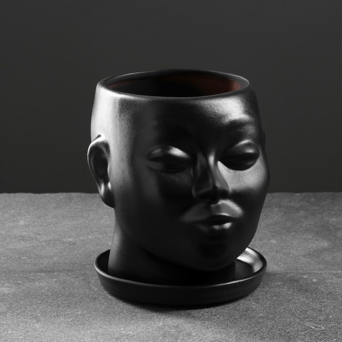 Фигурное кашпо - Голова, 17х14х15 см, чёрное