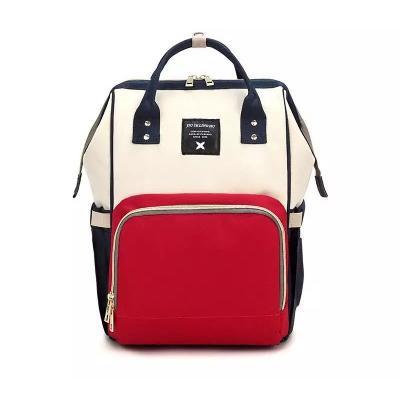 Сумка-рюкзак для мамы Baby Mo с USB, цвет в ассортименте, серо-красный