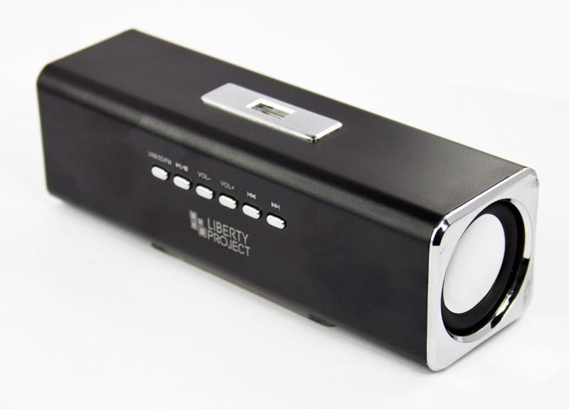 Колонки портативные «LP» K-101 Черные (Металл+3,5 мм+USB+microSD+заменяемый АКБ+FM радио) (коробка)