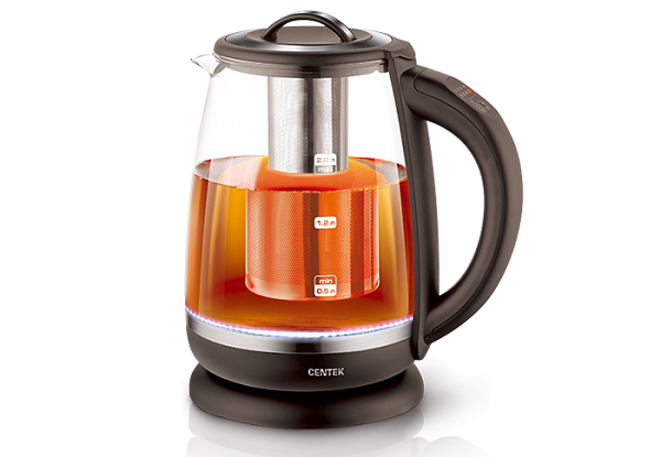 Чайник электрический Centek CT-0017 <Brooklyn> стекло, 2.0л, 2200Вт, функция заваривания чая, внутр. LED подсветка