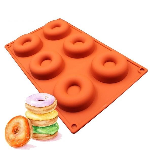 Силиконовая форма для выпечки и заморозки - Пончик, цвет микс