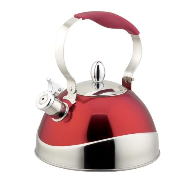 Чайник TECO 3,0 л, красныйЧайники металлические<br>Чайник со свистком «Teco» - выполнен из долговечной и прочной стали, которая не окисляется и устойчива к коррозии. Объем чайника составляет 3 литра, оснащен свистком, благодаря которому вы можете не беспокоиться о том, что закипевшая вода зальет плиту.<br>