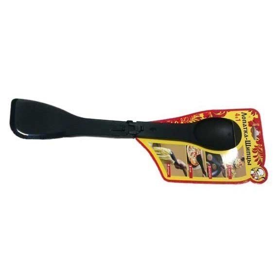 Нож - Лопатка - Щипцы - Ложка, 4 в 1Лопатки и щипцы<br>Тефлоновое покрытие посуды для приготовления блюд – это не только удобно, но и очень требовательно в уходе. Если вы хотите уберечь покрытие от царапин или растрескиваний, то просто обязаны купить нож-лопатку-щипцы-ложку или высококачественного нейлона. Легким движением руки этот многофункциональный прибор заменит ряд старых кухонных помощников!<br>