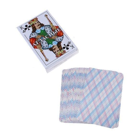 Карты  игральные «Атласные», 54 штТаро и игральные карты<br>Хорошо всем известные Атласные игральные карты настолько привычны нашему глазу, что всякие другие карты кажутся нам необычными и уж точно какими-то «нерусскими». Действительно, Атласные карты уже много десятилетий являются самыми распространенными и популярными игральными картами в России.<br>