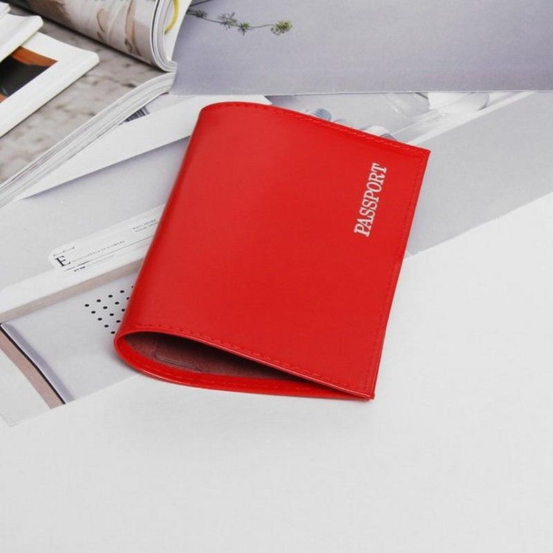 Обложка для паспорта глянцевая - Passport, красный фото