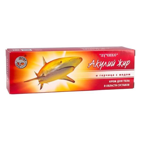 Акулий жир и Горчица с медом крем для суставов, 75млКрема и бальзамы<br>Акулий жир в совокупности с медово-горчичным бальзамом и эфирными маслами снимает воспаление, убивает микробов, убирает отечность, восстанавливает соединительную ткань, сильно разогревает кожу и мышцы.<br>