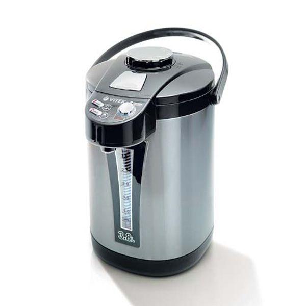 Термочайник Vitek VT-1189 BKЭлектрочайники и термопоты<br>Стильный, вместительный и надежный термопот VT-1189 BK станет идеальным дополнением вашей кухни. Вам не придется постоянно греть воду, ведь данное устройство по необходимости в автоматическом режиме подогревает воду до нужной температуры! Термопот выполнен из нержавеющей стали, что делает прибор надежным и экологичным. Устройство удобно в использовании. Чтобы налить воду в чашку, вы можете воспользоваться тремя способами, что делает «общение» с прибором приятным и комфортным.<br>