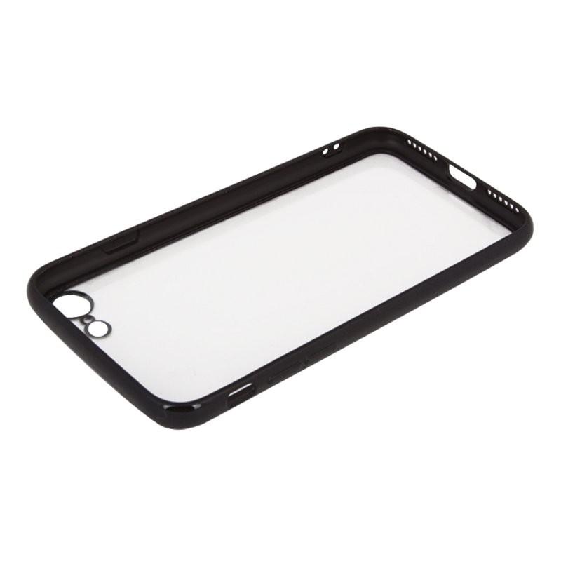 Защитная крышка «LP» для iPhone SE 2/8/7 «Glass Case» с черной рамкой (прозрачное стекло/коробка)