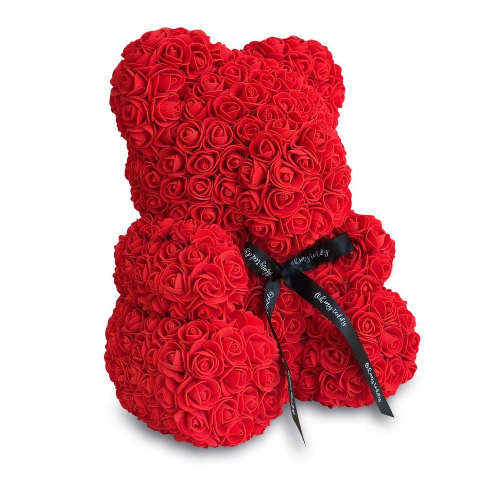 Мишка из роз с ленточкой (40 см), красный