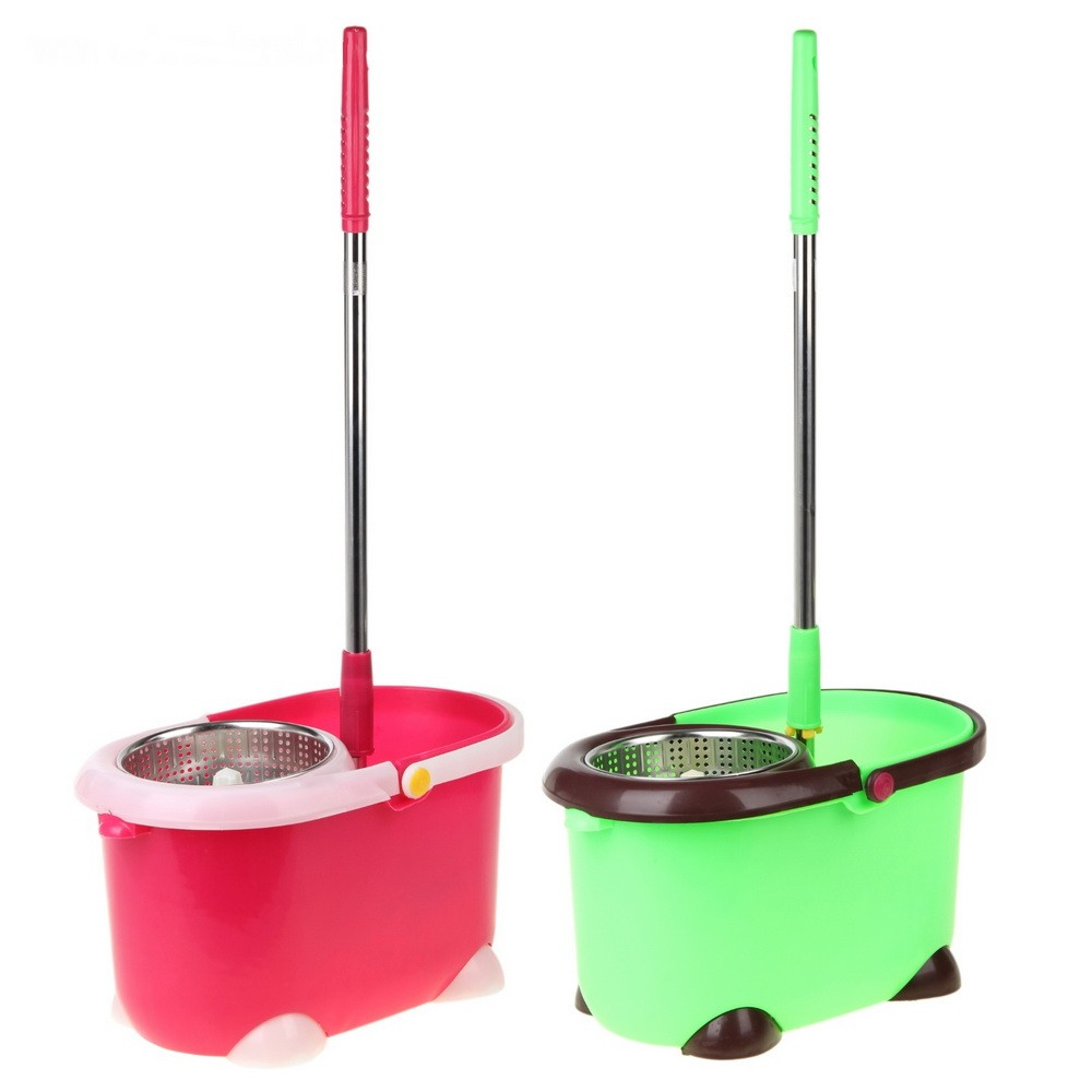 Набор для уборки - Палитра: ведро с металлической центрифугой, швабра, запасная насадка, цвет микс