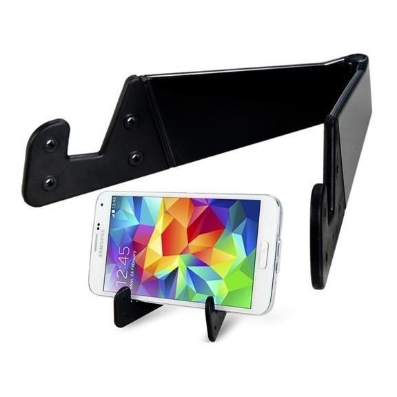 Черный раскладной держатель для смартфона и планшетаПодставки и крепления<br>Больше не нужно держать планшет в руках, чтобы просматривать фото или читать книгу. Черный раскладной держатель сделает всё за вас! Это надежная опора из прочного пластика, в которой смартфон и планшет находятся под углом 85 градусов – идеальный наклон для удобного просмотра!<br>