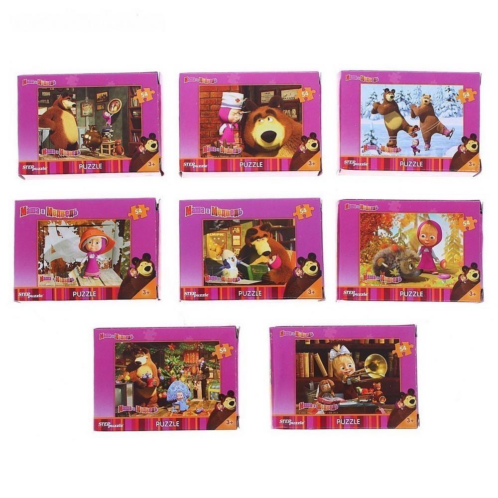 Пазлы - Маша и Медведь, 54 элемента, миксТовары для творчества<br>Без какой развивающей игрушки сложно представить детство? Конечно же, без пазлов! Спешите порадовать свое чадо пазлами «Маша и Медведь», 54 элемента! Часы приятного и полезного провождения времени обеспечены!<br>