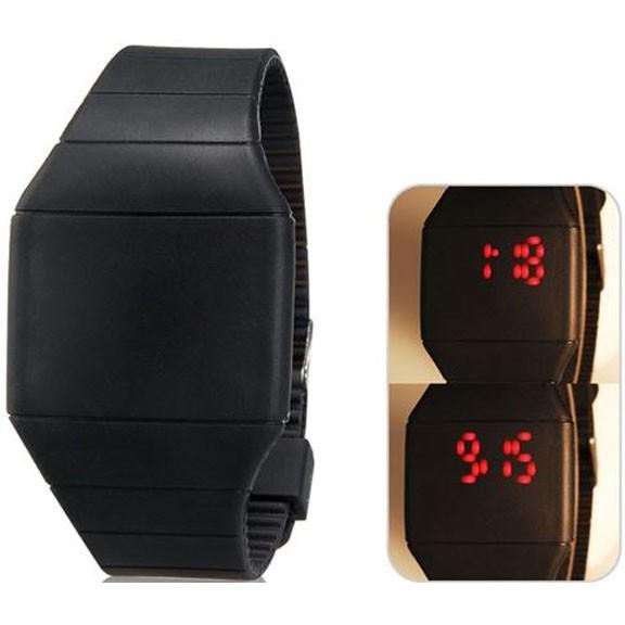 Ультратонкие силиконовые LED часы Nexer G1206, Квадратные, Черный