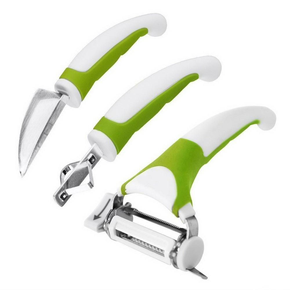 Ножи Triple Slicer 3 в 1 овощерезкиДля канапе и карвинга<br>Надоело чистить овощи и фрукты обычным ножом? Облегчите свои страдания с ножами Triple Slicer 3 в 1.<br>