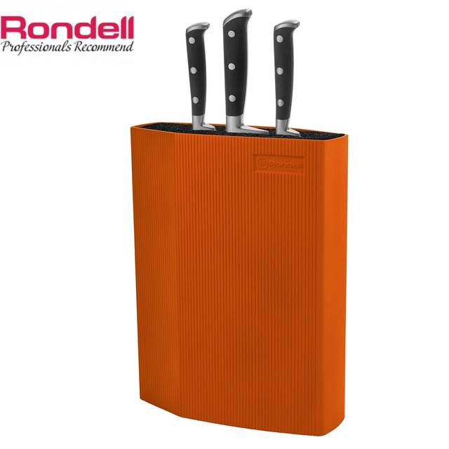 Универсальная пластиковая подставка для ножей Rondell RD-470Ножи кухонные<br>Подставка для ножей «Rondell» выполнена из ABS пластика с покрытием Soft Touch. Она предназначена для бережного хранения стальных и керамических ножей любой длины<br>