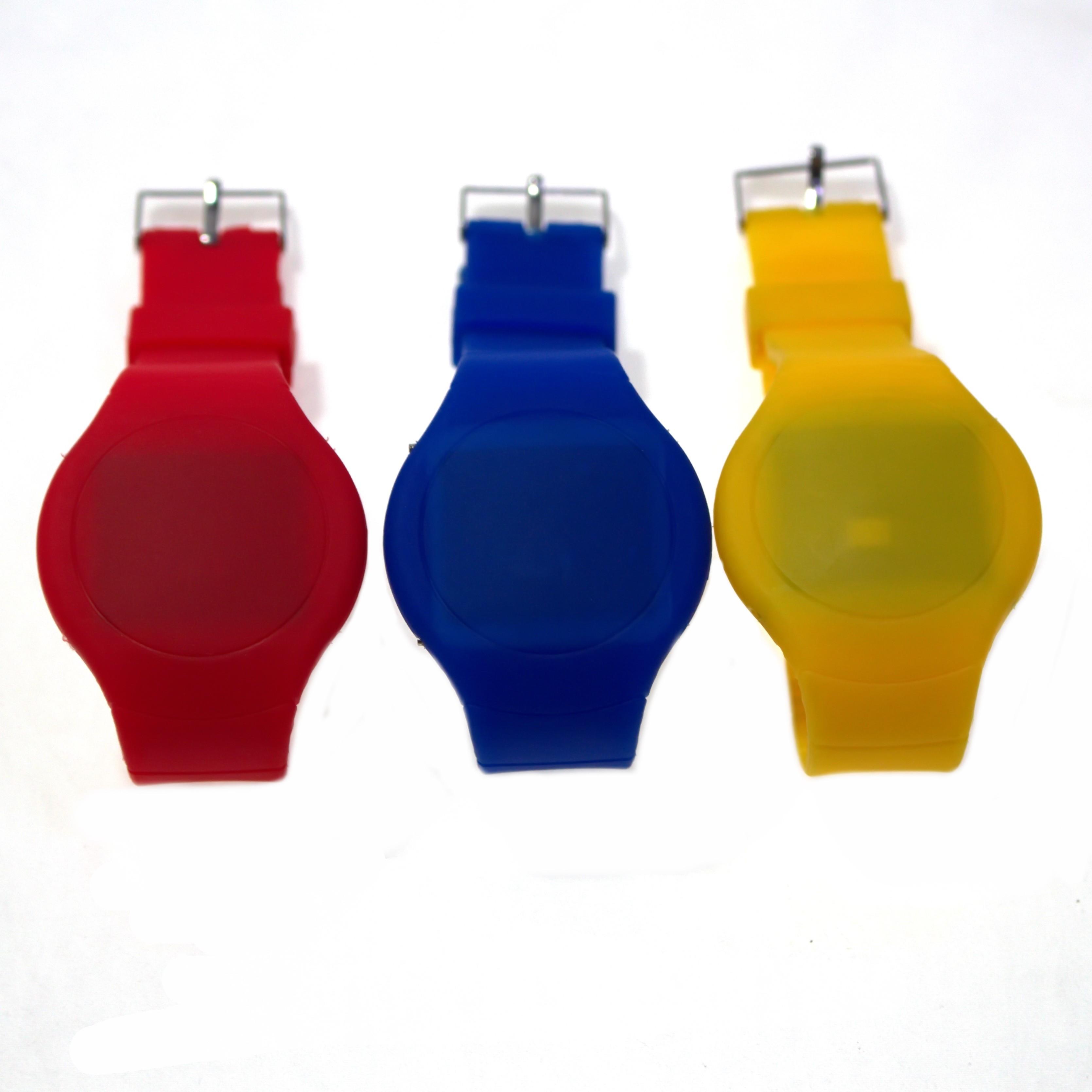 Ультратонкие силиконовые LED часы Nexer G1206, Круглые, желтый