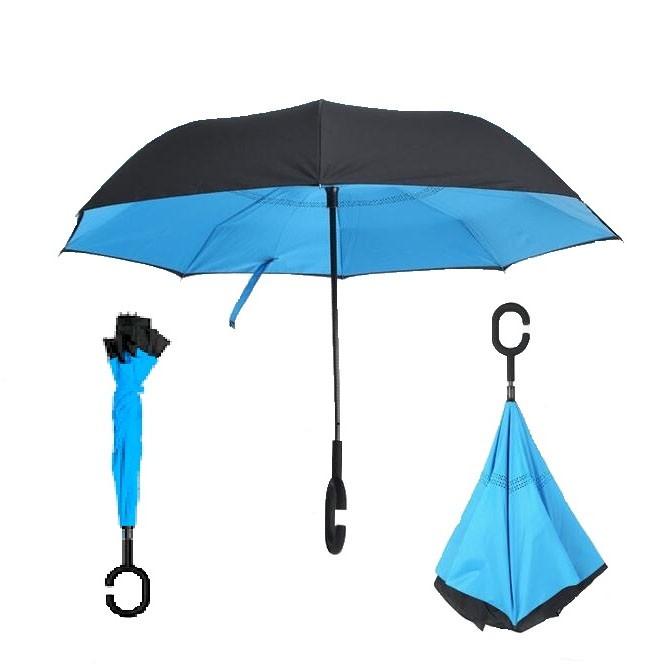 Зонт наоборот (обратный зонт) Up-brella, полуавтомат, синий