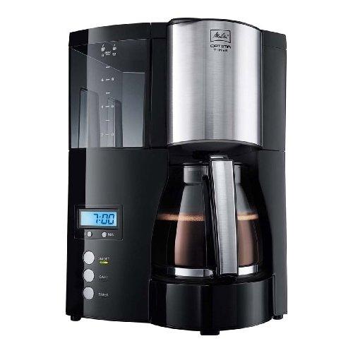 Кофеварка Optima Glass Timer Melitta чернаяКофеварки и кофемашины<br>Melitta OPTIMA Glass Timer (Мелитта Оптима Гласс Таймер) — кофеварка капельного типа c программируемым таймером, оснащённая LED дисплеем. Создана немецкими разработчиками специально для тех, кто ценит качественный кофе, лёгкость управления и стильный дизайн.<br>