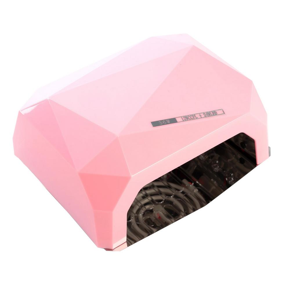 Лампа для гель-лака LuazON LUF-06, UV-LED, 36 Вт, быстрая сушка, розовая