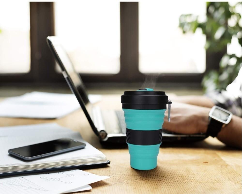 Складной силиконовый стакан для кофе, бело-бирюзовый