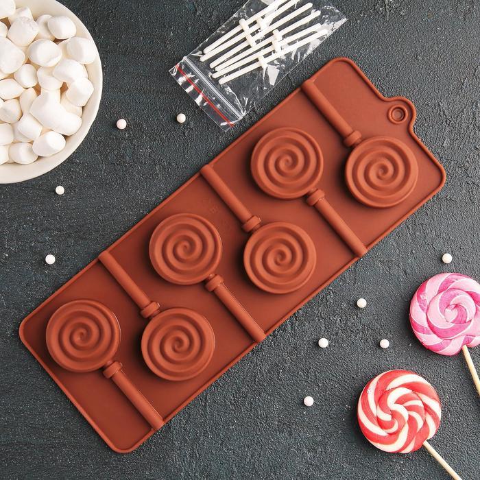Форма для леденцов и мороженого - Леденец, 9,5х24 см, 6 ячеек, цвет микс