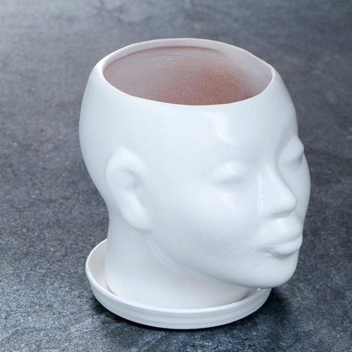 Фигурное кашпо — Голова, 15 см, белый