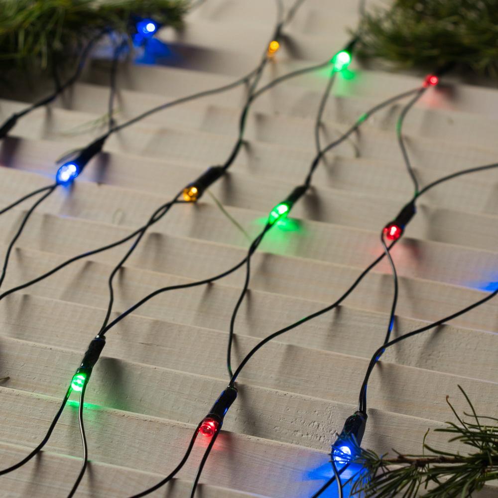 Гирлянда - Сеть, 2 х 2 м, LED-224-220V, 8 режимов, нить тёмная, мультицвет фото