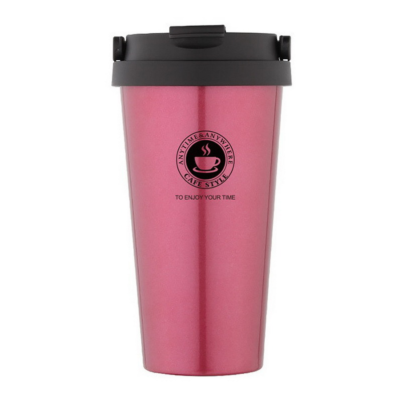 Термокружка Creative cafe style с ручкой, Нежно-розовый фото
