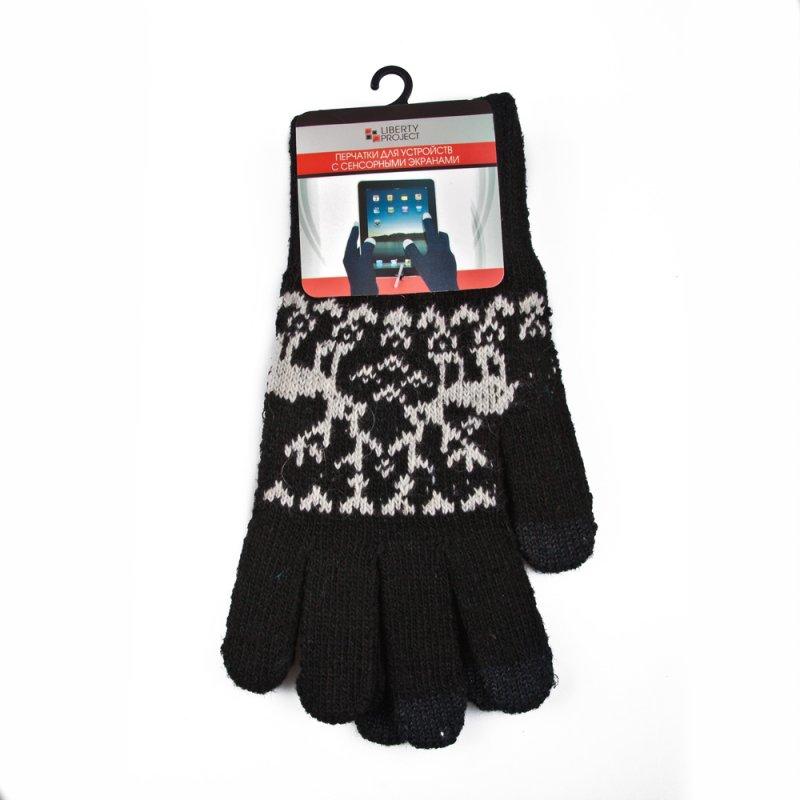 """Перчатки «LP» для сенсорных экранов «Олени""""/Черные/3 пальца/S (1008)"""