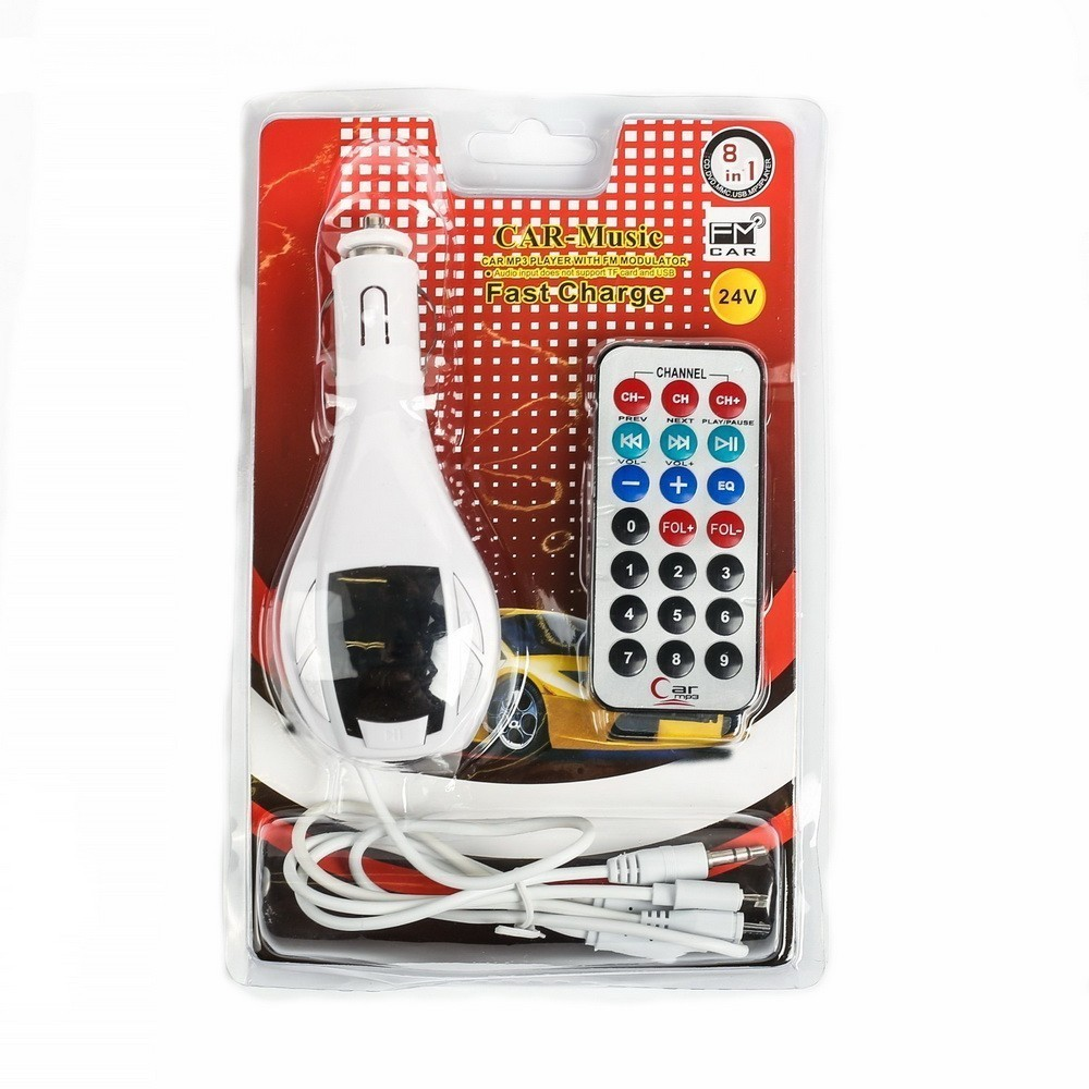 FM - трансмиттер, 12 В, USB/Mp3/WMA/MicroSD, белый