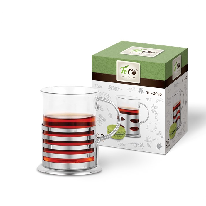 Стакан стеклянный TECO в подстаканнике 200 мл, полоскаЧайные сервизы и кружки<br>Стакан с подстаканником Teco «Клетка» TC-G020 изготовлена из высококачественного стекла. Посуда из этого материала позволяет максимально сохранить полезные свойства и вкусовые качества воды. Заварите крепкий, ароматный чай или кофе в представленной модели, и вы получите заряд бодрости, позитива и энергии на весь день.<br>