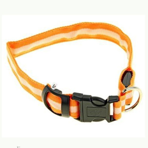 Светящийся ошейник - 40-45 см - оранжевыйСветящиеся ошейники<br>Если Вас немного пугают прогулки в ночное время суток с собакой, то настоятельно рекомендуем Вам приобрести светящийся ошейник со светоотражателем. Теперь Вы сможете видеть все, что делать питомец на улице и даже спокойно отпустить его побегать!<br>
