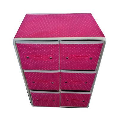 Портативный складной мини-комод, 6 отделений, розовый