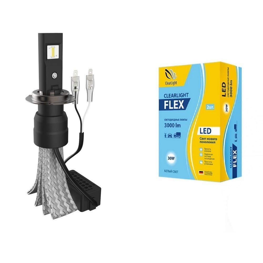Светодиодные лампы для авто LED Clearlight Flex H7 3000 lm (2 шт)Авто - Электроника<br>Светодиодные лампы в силу своей экономичностью пользуются популярностью не только в быту, но и у многих автолюбителей. Если вы хотите снизить нагрузку на аккумулятор, благодаря уменьшенному потреблению тока, реже менять лампочки и обеспечить себе максимум комфорта во время вождения авто, то просто обязаны обратить внимание на светодиодные лампы для авто LED Clearlight Flex 3000 lm, 2 шт.<br>