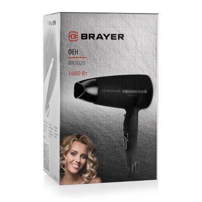 Фен Brayer BR3020, 1600 Вт, 2 скорости, холодный воздух, складная ручка, съемный фильтр