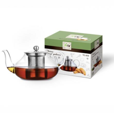 Чайник для заваривания 600 мл из стекла с ситомЧайники заварочные и френч-прессы<br>Заварочный чайник Teco изготовлен из термостойкого стекла. Крышка и сито изготовлены из нержавеющей стали. Cито предотвращает попадание чайных листьев в напиток. Благодаря прозрачности стекла, удобно оценить степень заваривания напитка.<br>
