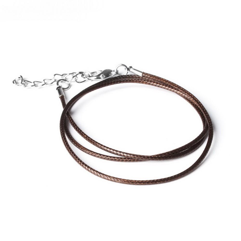 Шнурок 43 см + удлинитель, цвет коричневый, d=1,5 мм