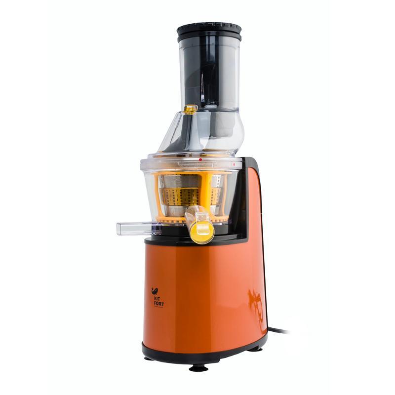 Шнековая соковыжималка Kitfort 1102-КТ, оранжеваяСоковыжималки<br>Благодаря использованию технологии низкоскоростного отжима, соковыжималка Kitfort KT-1102 позволяет получать сок практически из любых овощей и фруктов, орехов, зелени и даже пророщенной пшеницы. При этом сохраняется не только их вкус, цвет и аромат, но все микроэлементы и витамины.<br>