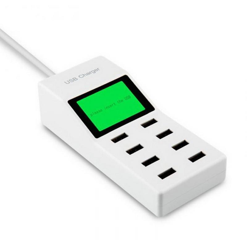 Зарядное устройство с дисплеем, 8 USB портовЗарядные устройства<br>Если вы являетесь фанатом современных гаджетов, то не раз сталкивались с ситуациями, когда попросту не хватает розеток, чтобы зарядить несколько устройств. А может вам не нравится носить с собой повсюду зарядные устройства для плеера, планшета, нескольких телефонов и других гаджетов? Посмотрите.зарядное устройство с дисплеем, 8 USB портов, которое обеспечит вам максимум удобства в любых условиях!<br>