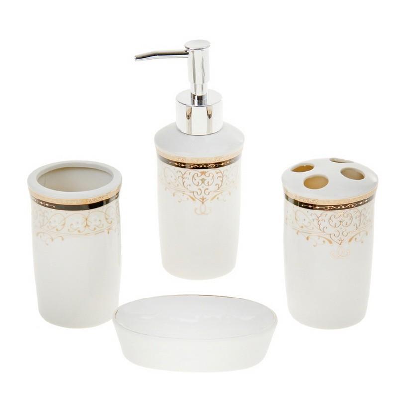 Набор аксессуаров для ванной комнаты, 4 предмета - Золотая роскошь фото
