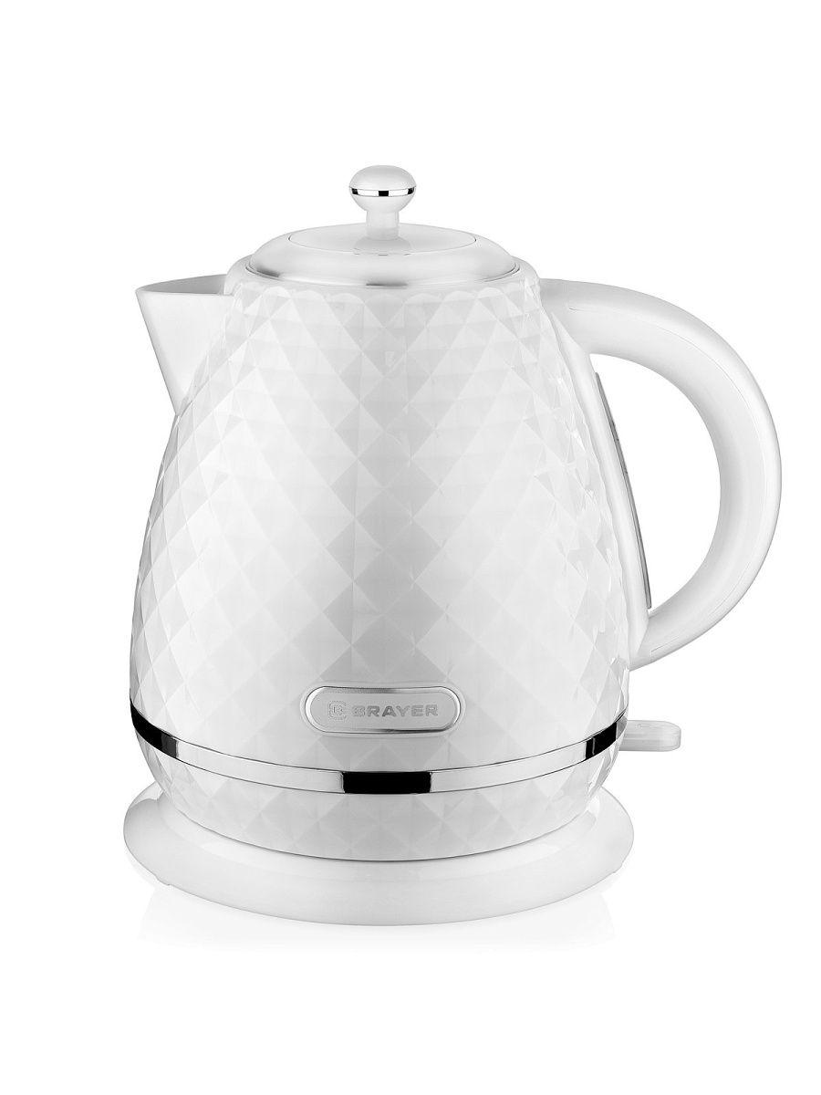 Чайник электрический Brayer BR1008WH, 2200 Вт, 1,7 л, Strix, белый